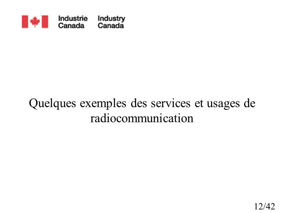 12/42 Quelques exemples des services et usages de radiocommunication