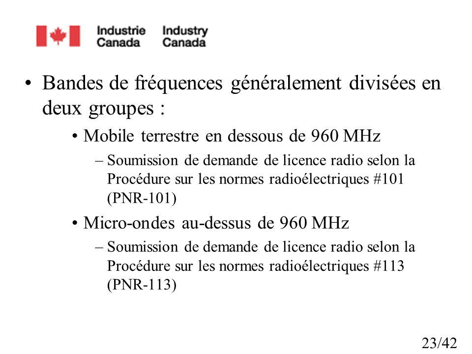 23/42 Bandes de fréquences généralement divisées en deux groupes : Mobile terrestre en dessous de 960 MHz –Soumission de demande de licence radio selon la Procédure sur les normes radioélectriques #101 (PNR-101) Micro-ondes au-dessus de 960 MHz –Soumission de demande de licence radio selon la Procédure sur les normes radioélectriques #113 (PNR-113)