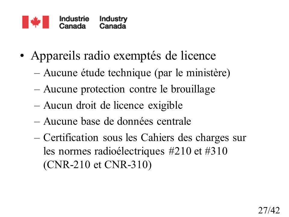 27/42 Appareils radio exemptés de licence –Aucune étude technique (par le ministère) –Aucune protection contre le brouillage –Aucun droit de licence exigible –Aucune base de données centrale –Certification sous les Cahiers des charges sur les normes radioélectriques #210 et #310 (CNR-210 et CNR-310)