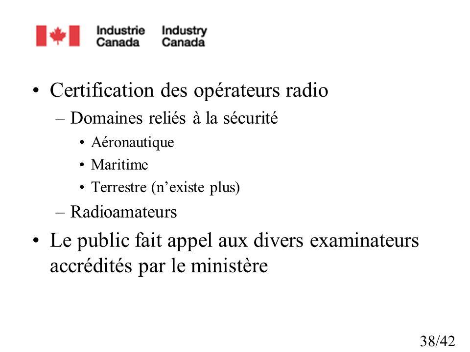 38/42 Certification des opérateurs radio –Domaines reliés à la sécurité Aéronautique Maritime Terrestre (nexiste plus) –Radioamateurs Le public fait appel aux divers examinateurs accrédités par le ministère