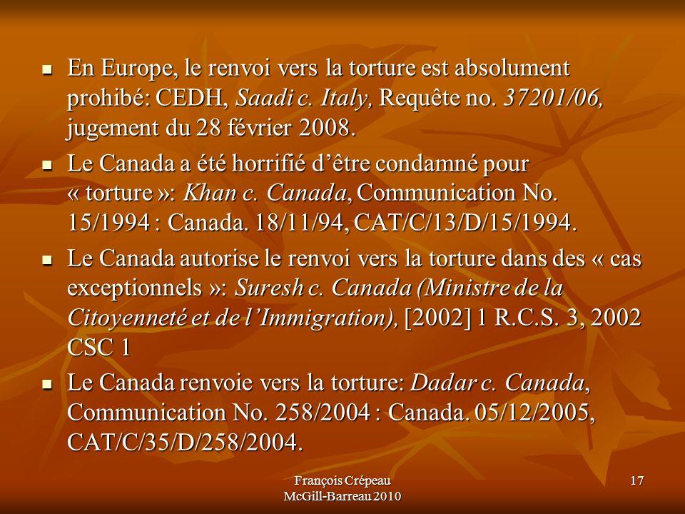 En Europe, le renvoi vers la torture est absolument prohibé: CEDH, Saadi c.