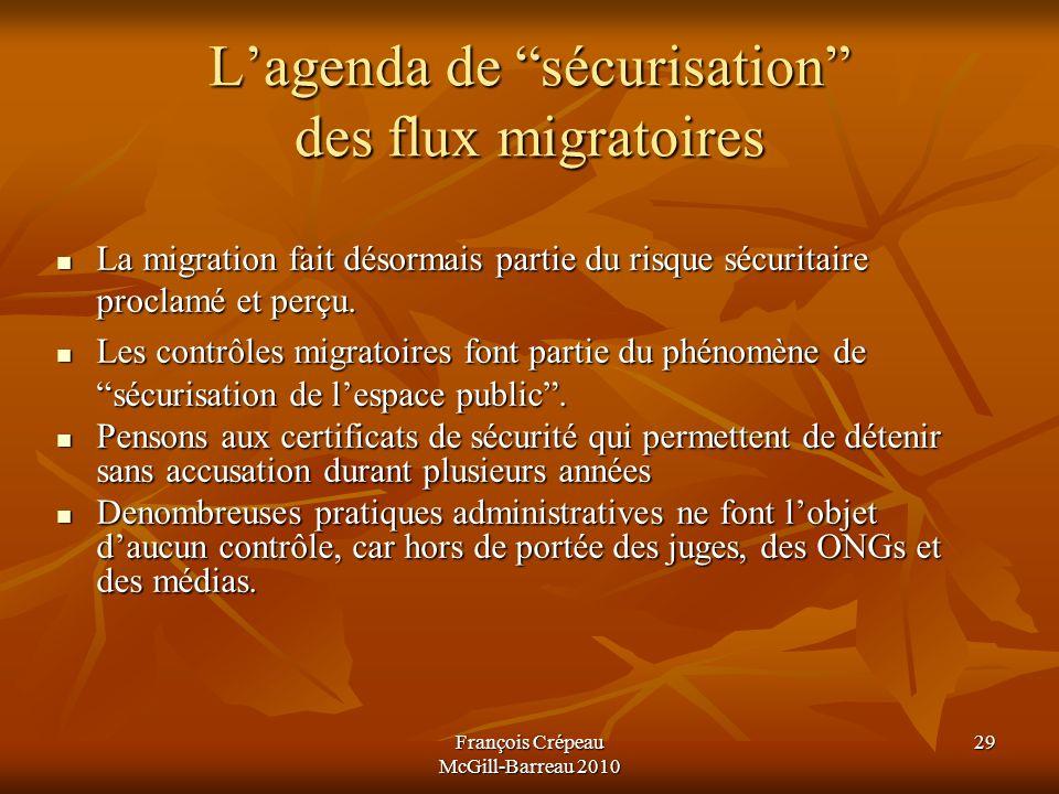 François Crépeau McGill-Barreau 2010 29 Lagenda de sécurisation des flux migratoires La migration fait désormais partie du risque sécuritaire proclamé et perçu.