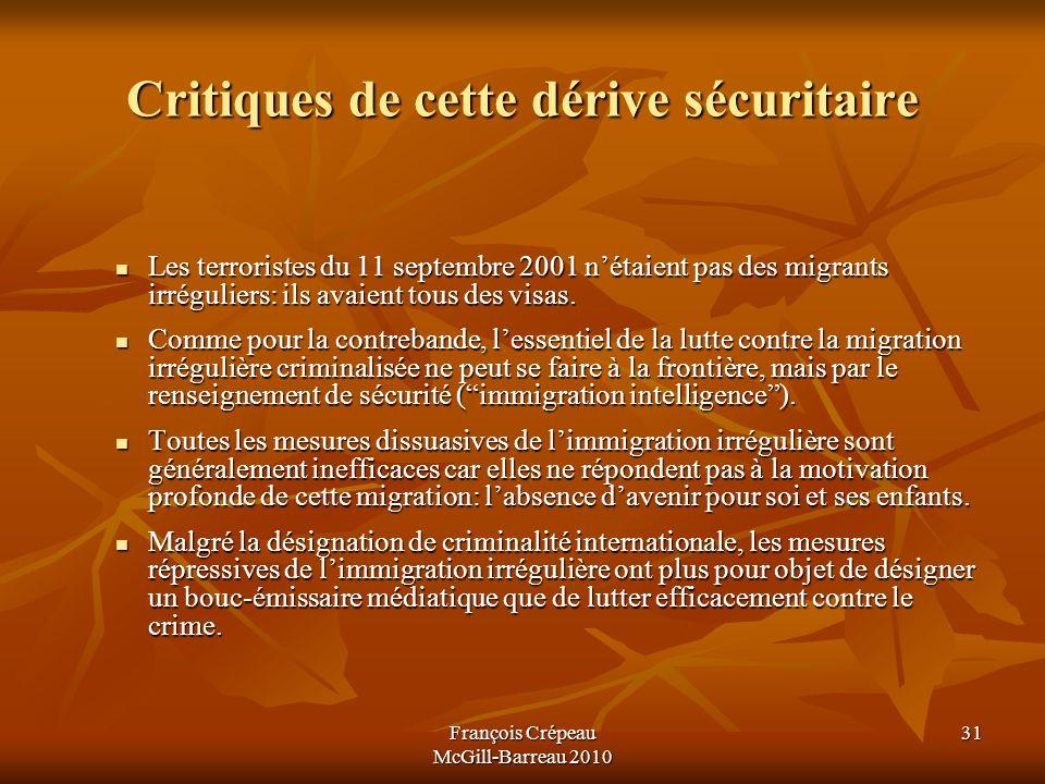François Crépeau McGill-Barreau 2010 31 Critiques de cette dérive sécuritaire Les terroristes du 11 septembre 2001 nétaient pas des migrants irréguliers: ils avaient tous des visas.