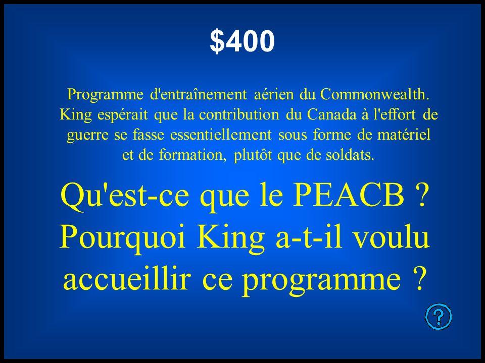 $400 Programme d'entraînement aérien du Commonwealth. King espérait que la contribution du Canada à l'effort de guerre se fasse essentiellement sous f