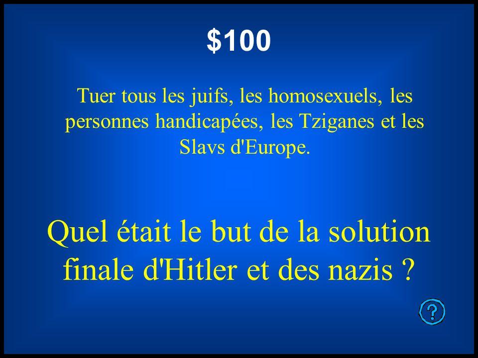 $100 Tuer tous les juifs, les homosexuels, les personnes handicapées, les Tziganes et les Slavs d'Europe. Quel était le but de la solution finale d'Hi