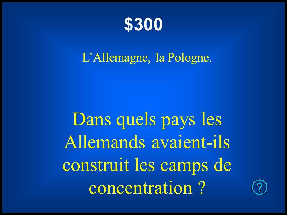 $300 LAllemagne, la Pologne. Dans quels pays les Allemands avaient-ils construit les camps de concentration ?