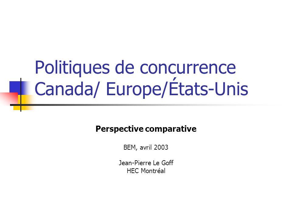Politiques de concurrence Canada/ Europe/États-Unis Perspective comparative BEM, avril 2003 Jean-Pierre Le Goff HEC Montréal