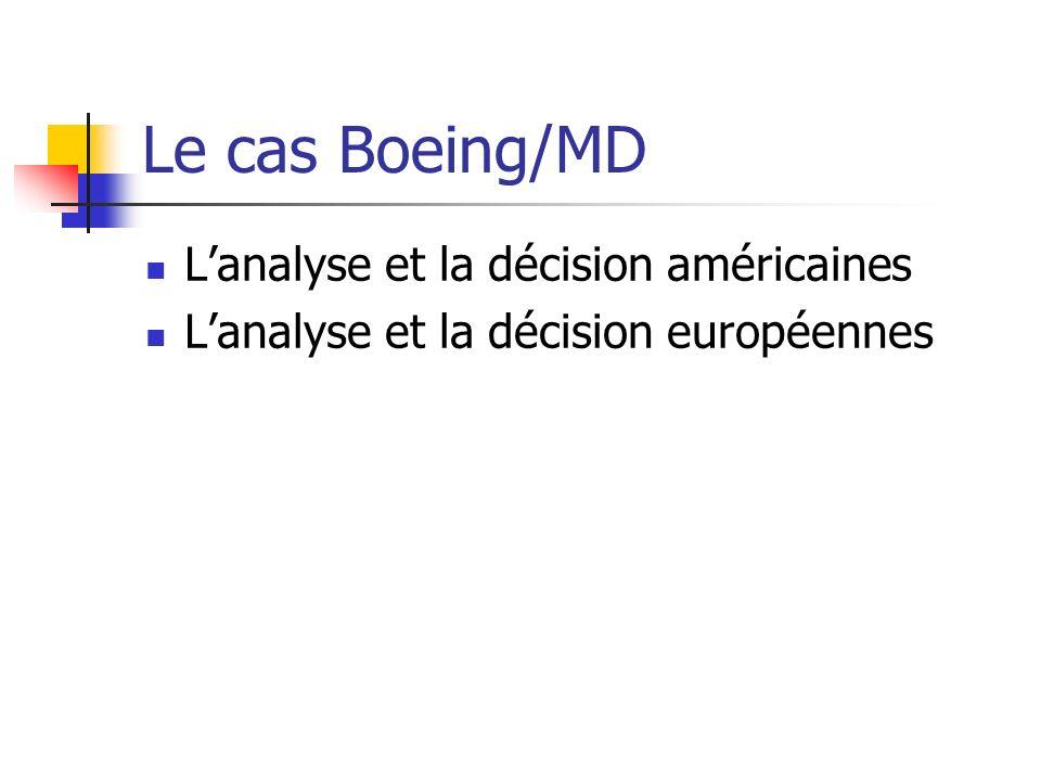 Le cas Boeing/MD Lanalyse et la décision américaines Lanalyse et la décision européennes