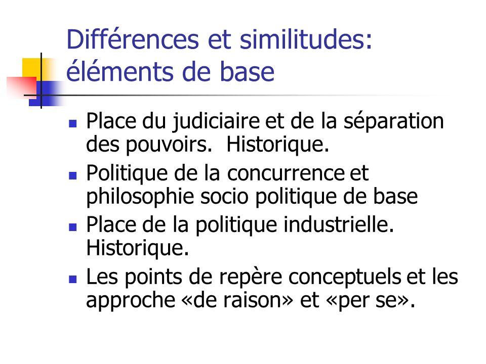 Différences et similitudes: éléments de base Place du judiciaire et de la séparation des pouvoirs.