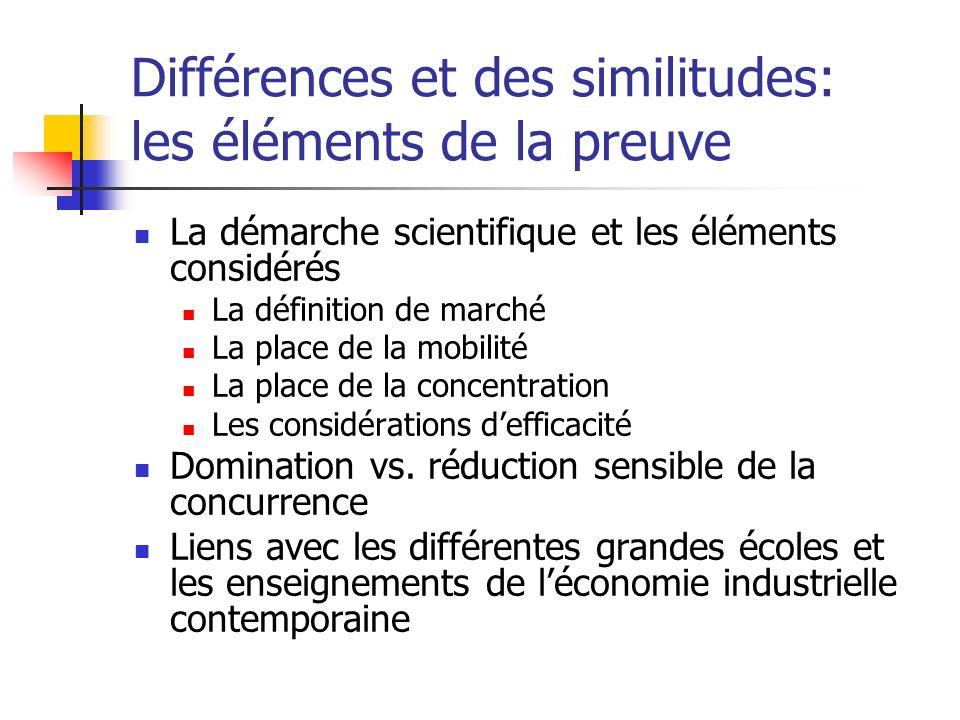 Différences et des similitudes: les éléments de la preuve La démarche scientifique et les éléments considérés La définition de marché La place de la mobilité La place de la concentration Les considérations defficacité Domination vs.