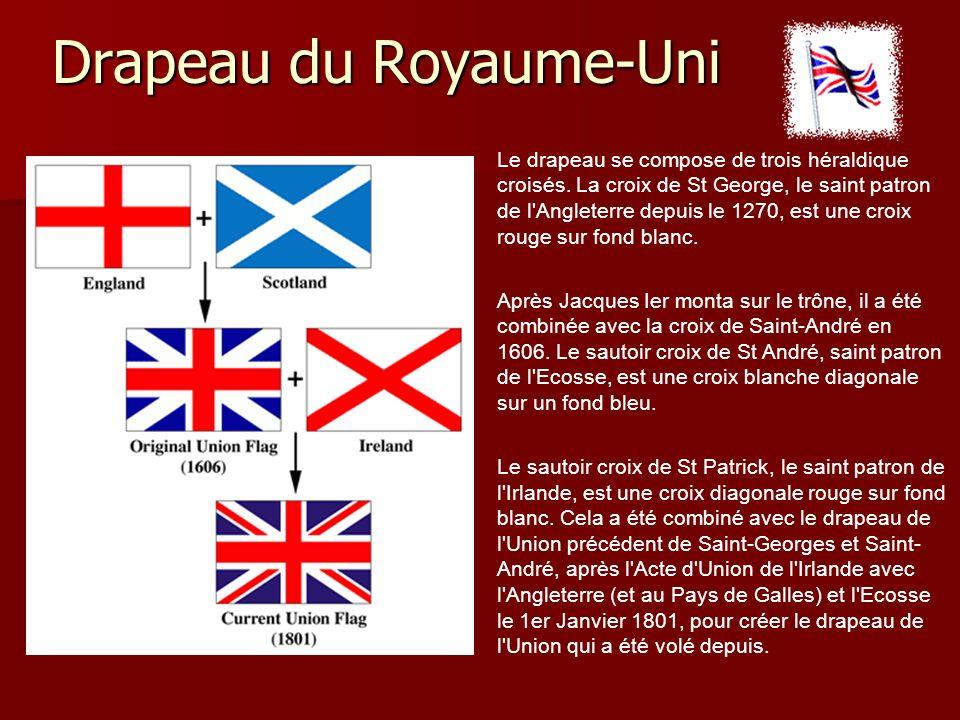 Drapeau du Royaume-Uni Le drapeau se compose de trois héraldique croisés.