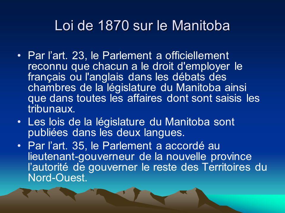 Loi de 1870 sur le Manitoba Par lart.