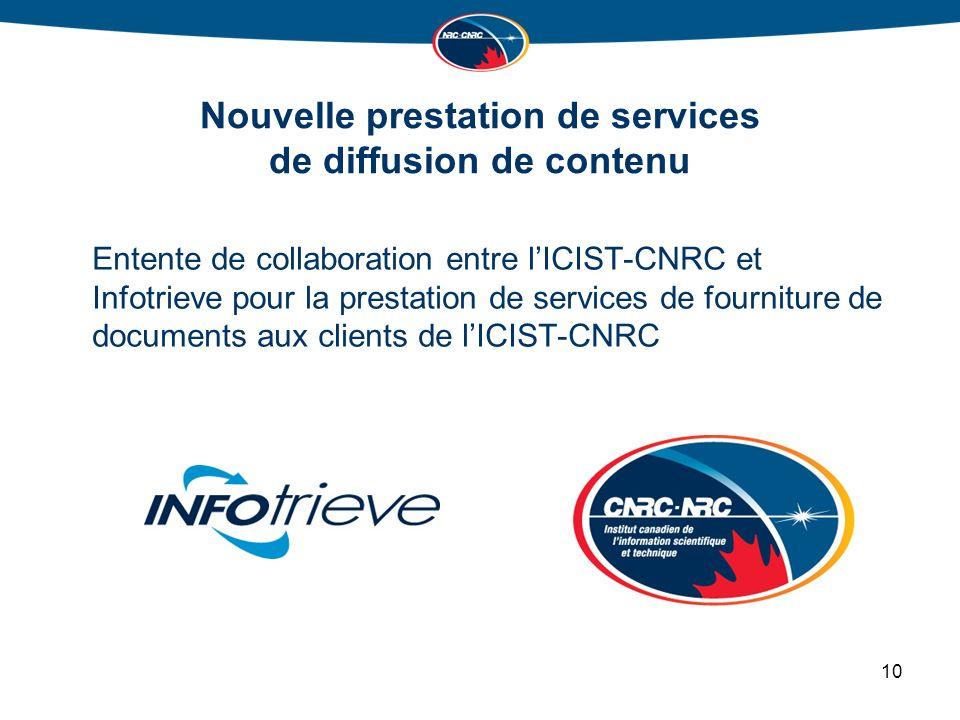 Nouvelle prestation de services de diffusion de contenu Entente de collaboration entre lICIST-CNRC et Infotrieve pour la prestation de services de fourniture de documents aux clients de lICIST-CNRC 10