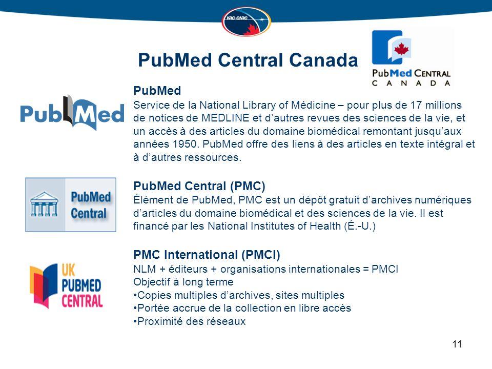 PubMed Central Canada PubMed Service de la National Library of Médicine – pour plus de 17 millions de notices de MEDLINE et dautres revues des sciences de la vie, et un accès à des articles du domaine biomédical remontant jusquaux années 1950.