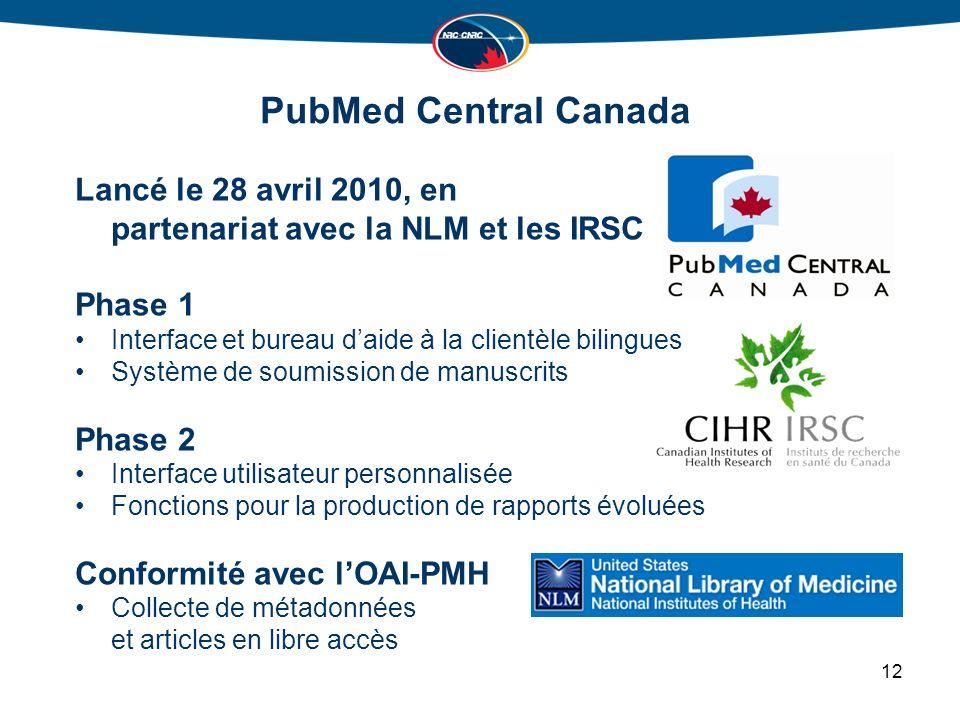 PubMed Central Canada Lancé le 28 avril 2010, en partenariat avec la NLM et les IRSC Phase 1 Interface et bureau daide à la clientèle bilingues Système de soumission de manuscrits Phase 2 Interface utilisateur personnalisée Fonctions pour la production de rapports évoluées Conformité avec lOAI-PMH Collecte de métadonnées et articles en libre accès 12