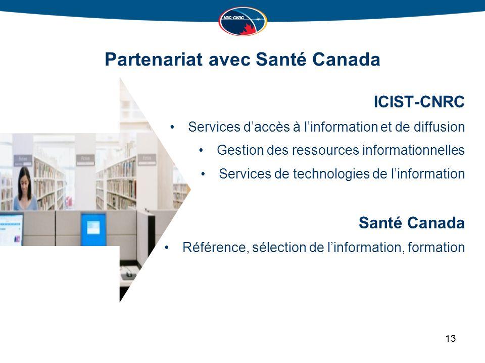 Partenariat avec Santé Canada ICIST-CNRC Services daccès à linformation et de diffusion Gestion des ressources informationnelles Services de technologies de linformation Santé Canada Référence, sélection de linformation, formation 13