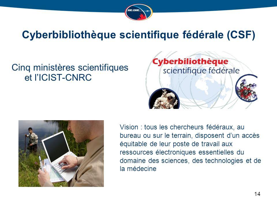 Cyberbibliothèque scientifique fédérale (CSF) Cinq ministères scientifiques et lICIST-CNRC 14 Vision : tous les chercheurs fédéraux, au bureau ou sur le terrain, disposent dun accès équitable de leur poste de travail aux ressources électroniques essentielles du domaine des sciences, des technologies et de la médecine