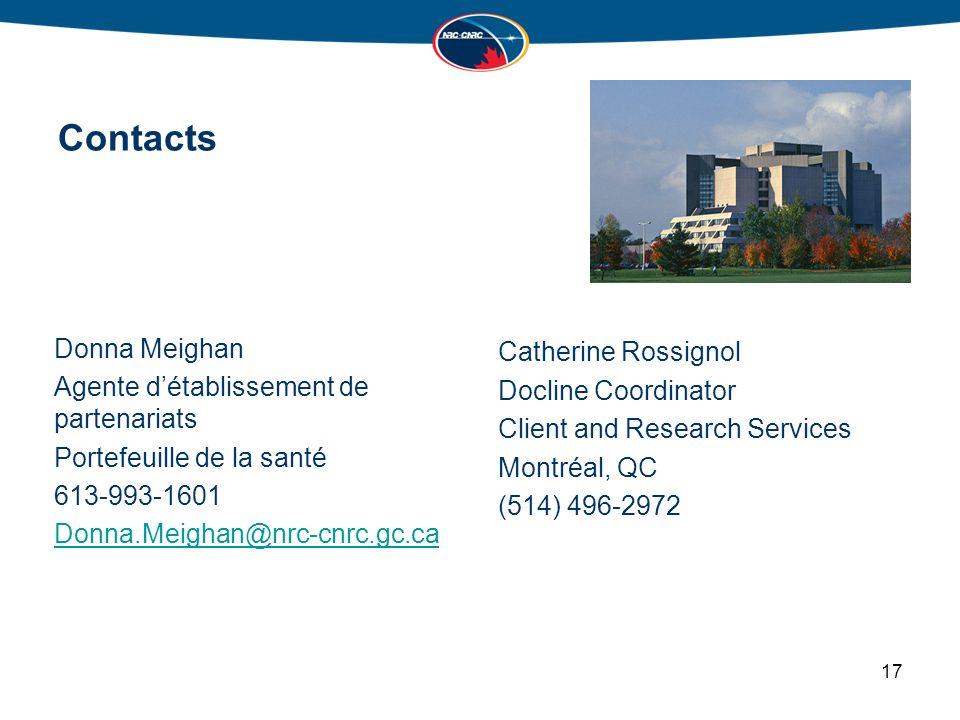 Contacts Donna Meighan Agente détablissement de partenariats Portefeuille de la santé 613-993-1601 Donna.Meighan@nrc-cnrc.gc.ca Catherine Rossignol Docline Coordinator Client and Research Services Montréal, QC (514) 496-2972 17