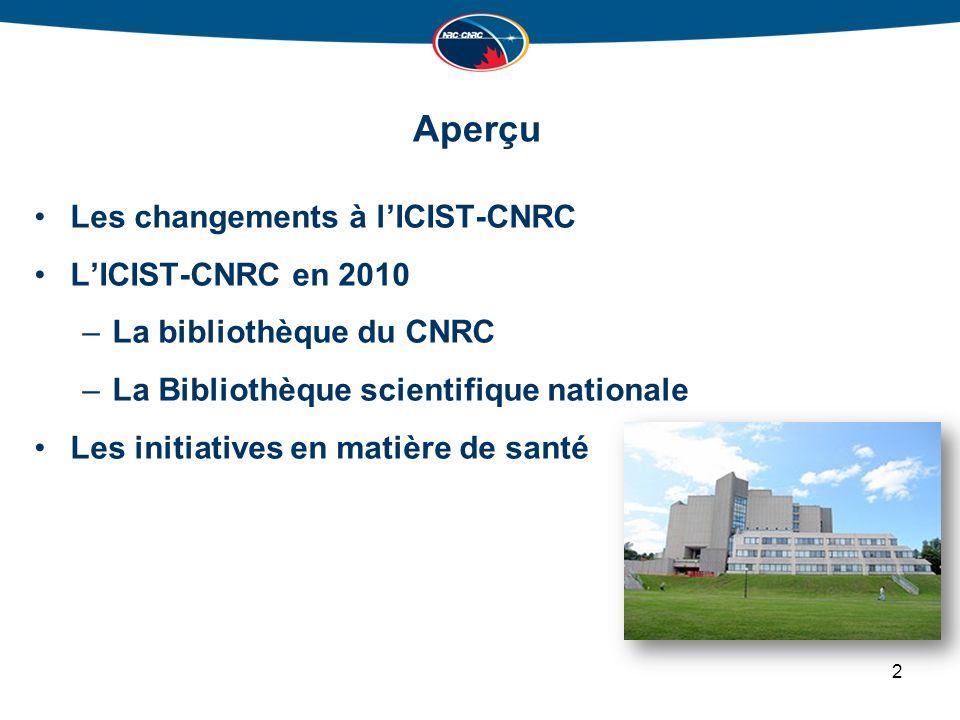 Aperçu Les changements à lICIST-CNRC LICIST-CNRC en 2010 –La bibliothèque du CNRC –La Bibliothèque scientifique nationale Les initiatives en matière de santé 2