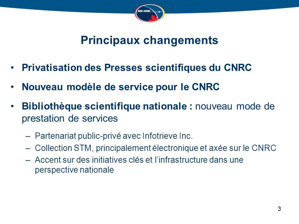 Principaux changements Privatisation des Presses scientifiques du CNRC Nouveau modèle de service pour le CNRC Bibliothèque scientifique nationale : nouveau mode de prestation de services –Partenariat public-privé avec Infotrieve Inc.