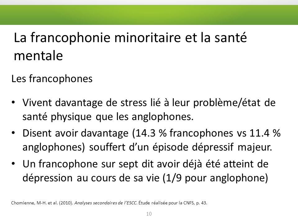 La francophonie minoritaire et la santé mentale Les francophones Vivent davantage de stress lié à leur problème/état de santé physique que les anglophones.