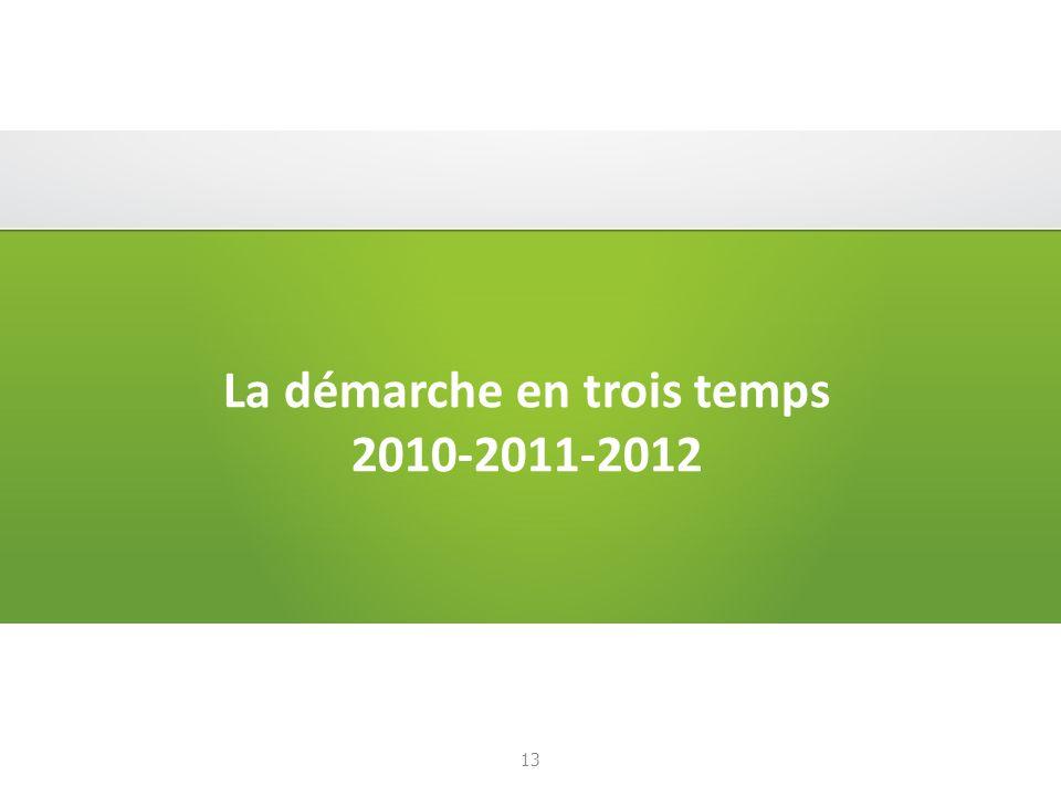 La démarche en trois temps 2010-2011-2012 13