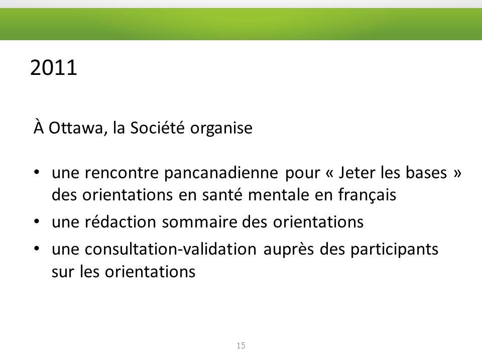 2011 À Ottawa, la Société organise une rencontre pancanadienne pour « Jeter les bases » des orientations en santé mentale en français une rédaction sommaire des orientations une consultation-validation auprès des participants sur les orientations 15