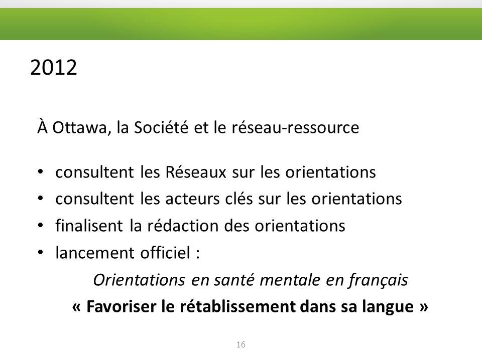 2012 À Ottawa, la Société et le réseau-ressource consultent les Réseaux sur les orientations consultent les acteurs clés sur les orientations finalisent la rédaction des orientations lancement officiel : Orientations en santé mentale en français « Favoriser le rétablissement dans sa langue » 16