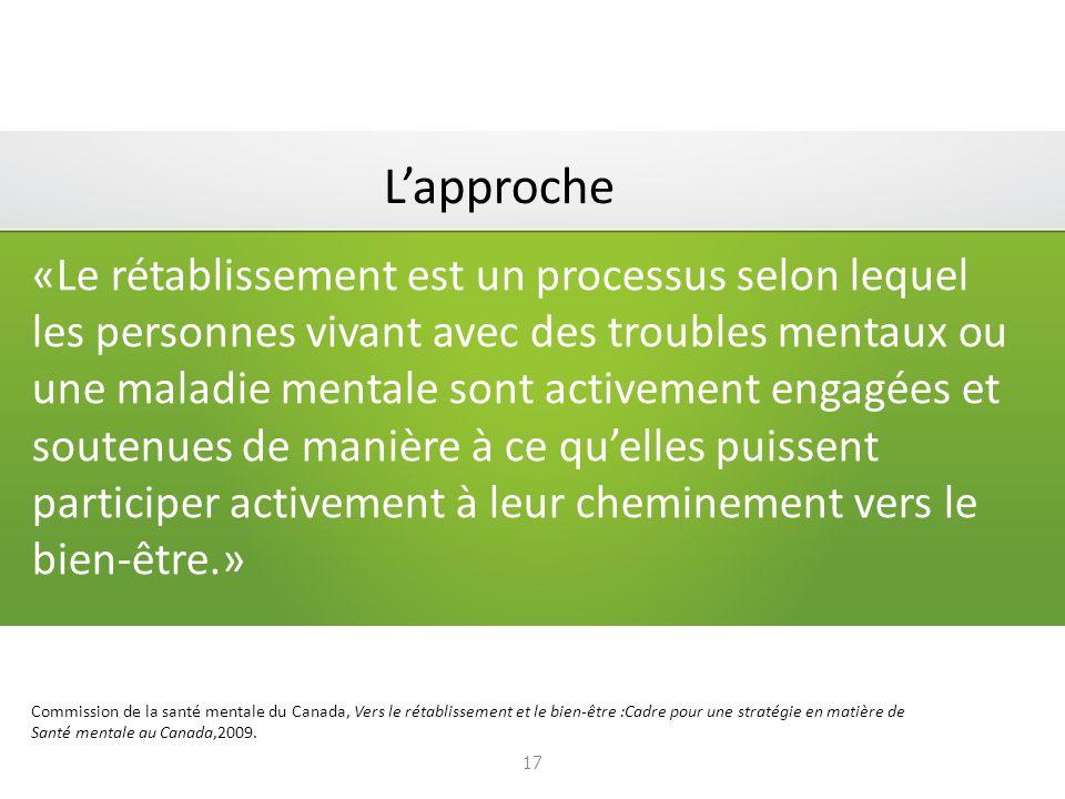 «Le rétablissement est un processus selon lequel les personnes vivant avec des troubles mentaux ou une maladie mentale sont activement engagées et soutenues de manière à ce quelles puissent participer activement à leur cheminement vers le bien-être.» Commission de la santé mentale du Canada, Vers le rétablissement et le bien-être :Cadre pour une stratégie en matière de Santé mentale au Canada,2009.