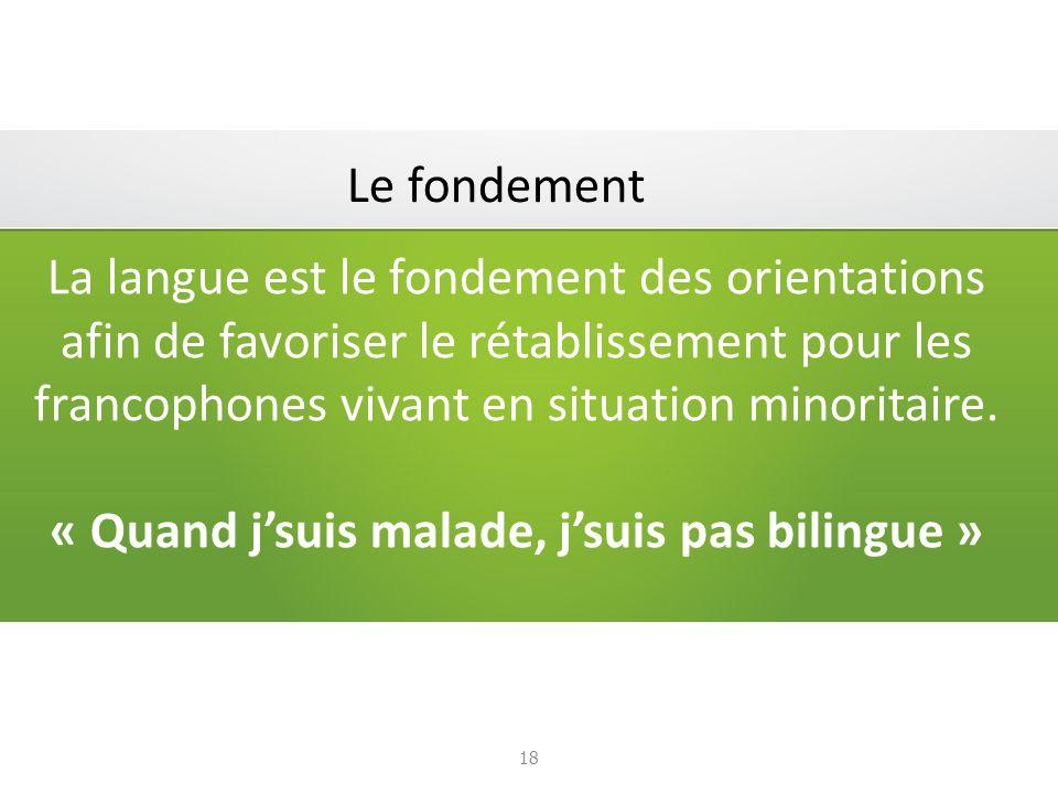 La langue est le fondement des orientations afin de favoriser le rétablissement pour les francophones vivant en situation minoritaire.