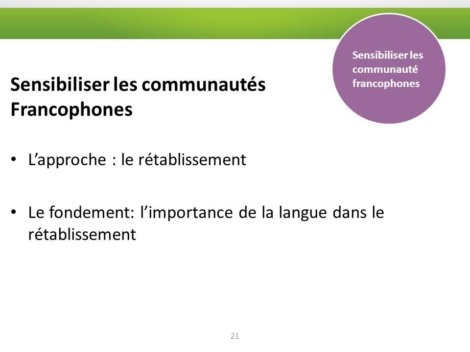Sensibiliser les communautés Francophones Lapproche : le rétablissement Le fondement: limportance de la langue dans le rétablissement 21 Sensibiliser les communauté francophones