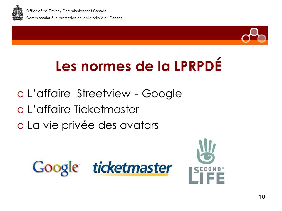 10 Les normes de la LPRPDÉ oLaffaire Streetview - Google oLaffaire Ticketmaster oLa vie privée des avatars Office of the Privacy Commissioner of Canada Commissariat à la protection de la vie privée du Canada