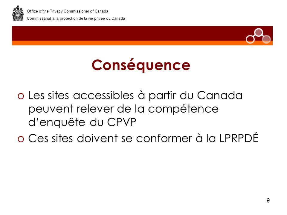 9 Conséquence oLes sites accessibles à partir du Canada peuvent relever de la compétence denquête du CPVP oCes sites doivent se conformer à la LPRPDÉ Office of the Privacy Commissioner of Canada Commissariat à la protection de la vie privée du Canada