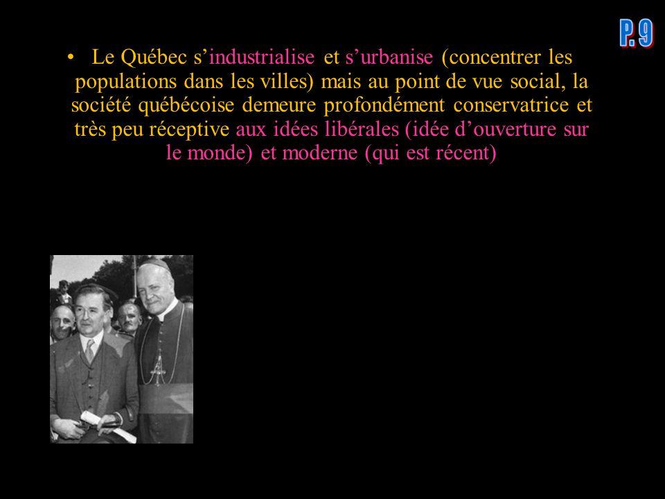 Le Québec sindustrialise et surbanise (concentrer les populations dans les villes) mais au point de vue social, la société québécoise demeure profondé