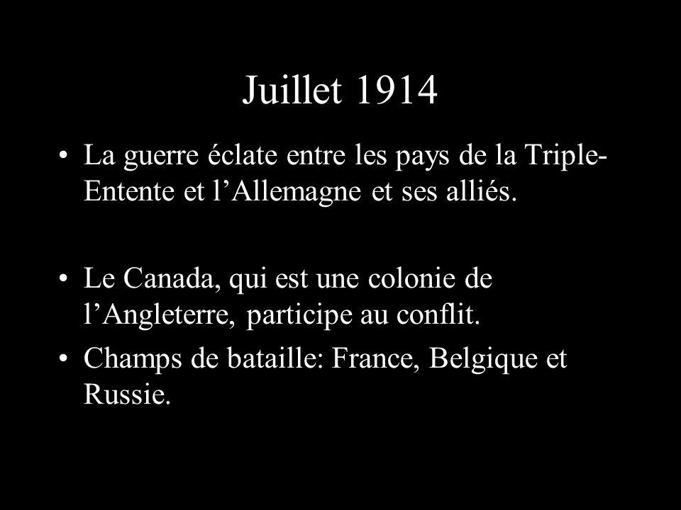 Juillet 1914 La guerre éclate entre les pays de la Triple- Entente et lAllemagne et ses alliés. Le Canada, qui est une colonie de lAngleterre, partici