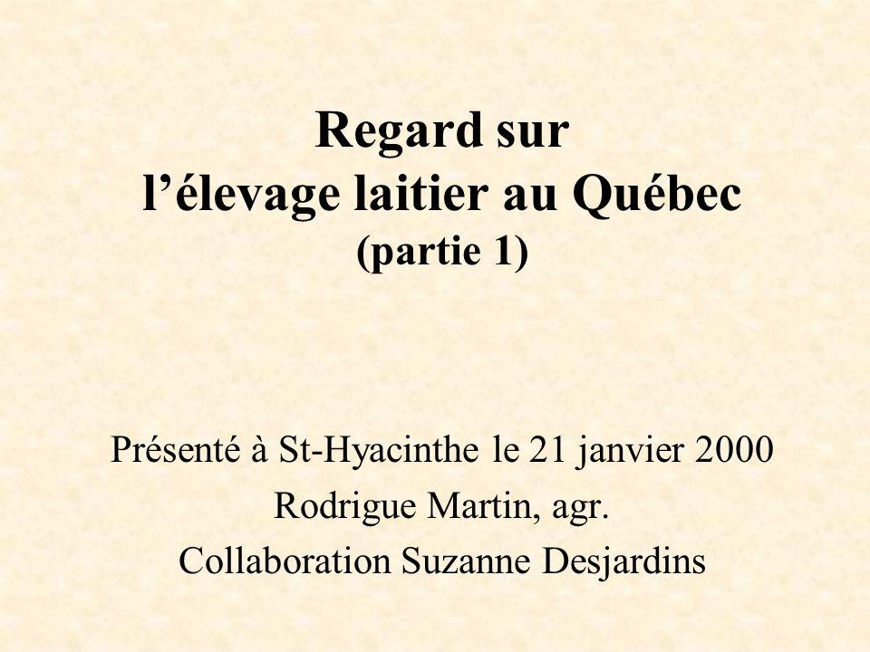 Présenté à St-Hyacinthe le 21 janvier 2000 Rodrigue Martin, agr. Collaboration Suzanne Desjardins Regard sur lélevage laitier au Québec (partie 1)
