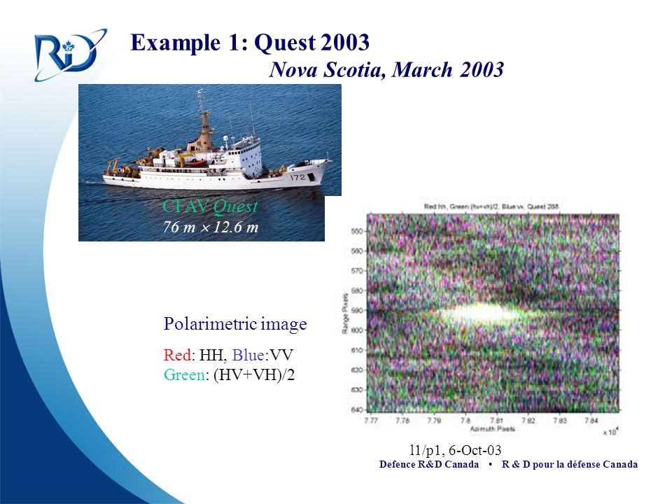 Example 1: Quest 2003 Nova Scotia, March 2003 l1/p1, 6-Oct-03 Polarimetric image Red: HH, Blue:VV Green: (HV+VH)/2 CFAV Quest 76 m 12.6 m