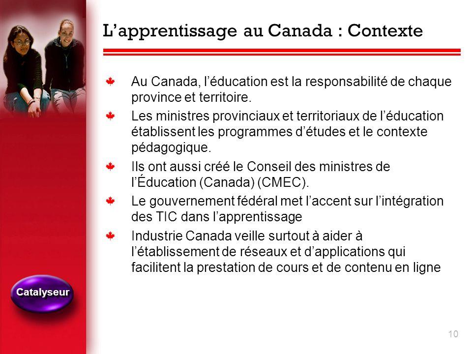 10 Lapprentissage au Canada : Contexte k Au Canada, léducation est la responsabilité de chaque province et territoire.
