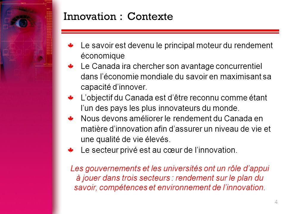 4 k Le savoir est devenu le principal moteur du rendement économique k Le Canada ira chercher son avantage concurrentiel dans léconomie mondiale du savoir en maximisant sa capacité dinnover.
