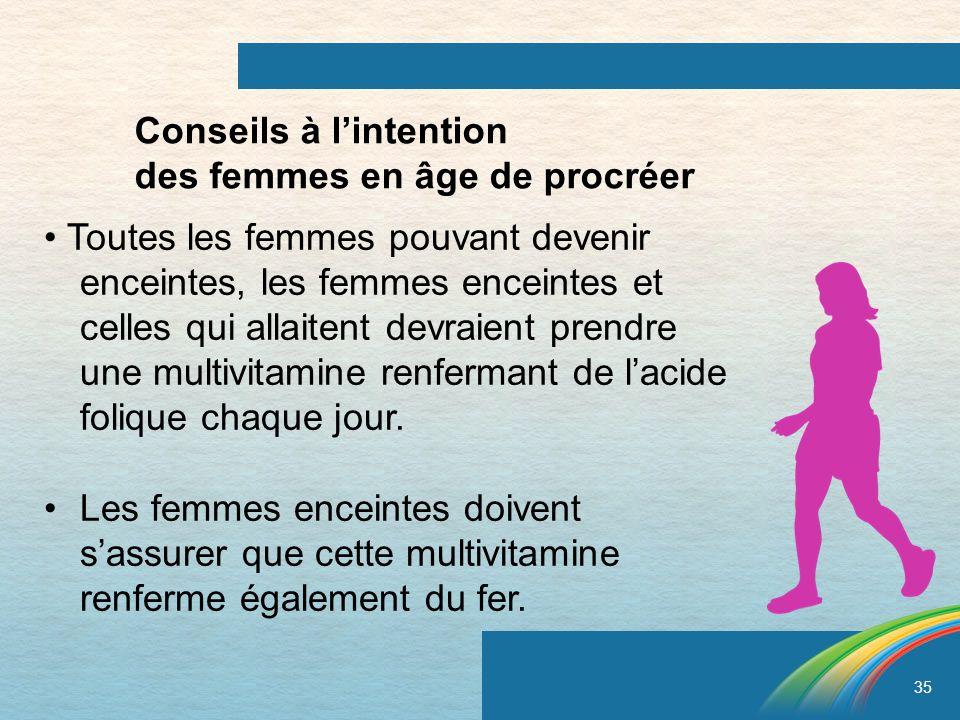 35 Conseils à lintention des femmes en âge de procréer Toutes les femmes pouvant devenir enceintes, les femmes enceintes et celles qui allaitent devra