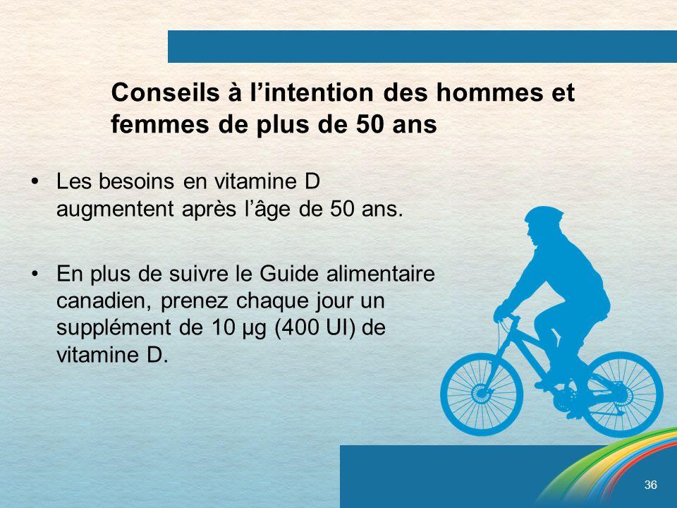 36 Conseils à lintention des hommes et femmes de plus de 50 ans Les besoins en vitamine D augmentent après lâge de 50 ans. En plus de suivre le Guide
