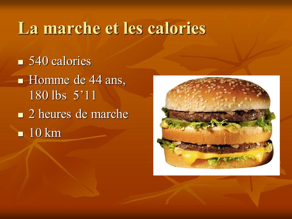 La marche et les calories 540 calories 540 calories Homme de 44 ans, 180 lbs 511 Homme de 44 ans, 180 lbs 511 2 heures de marche 2 heures de marche 10