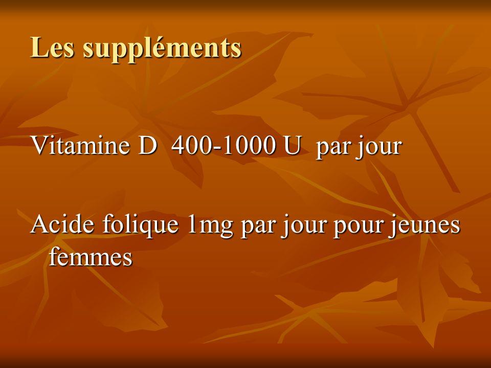 Les suppléments Vitamine D 400-1000 U par jour Acide folique 1mg par jour pour jeunes femmes