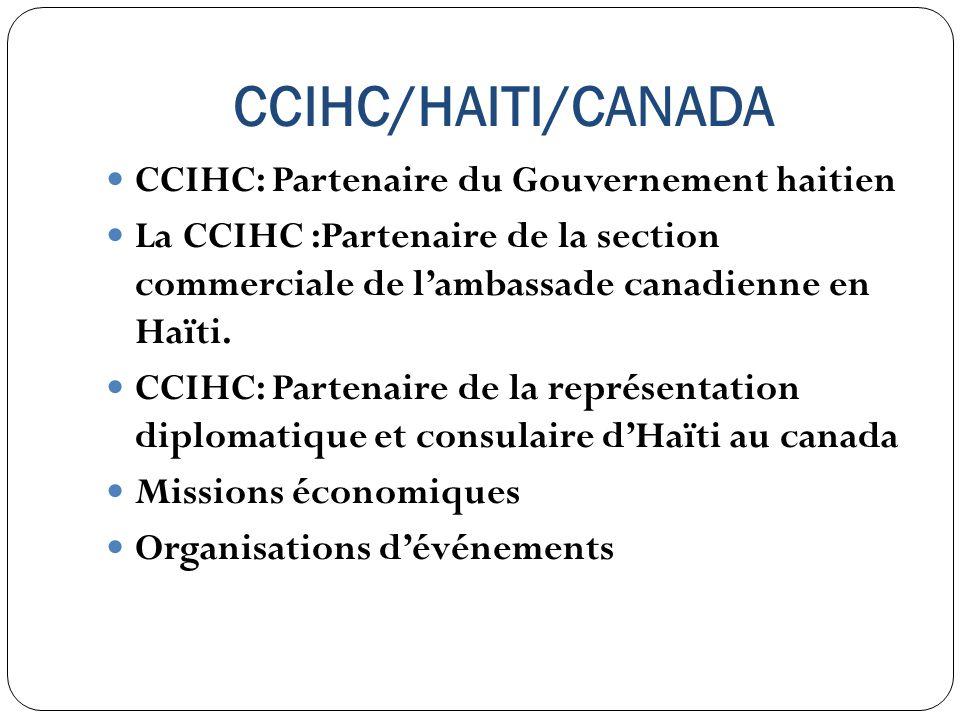 CCIHC/HAITI/CANADA CCIHC: Partenaire du Gouvernement haitien La CCIHC :Partenaire de la section commerciale de lambassade canadienne en Haïti. CCIHC:
