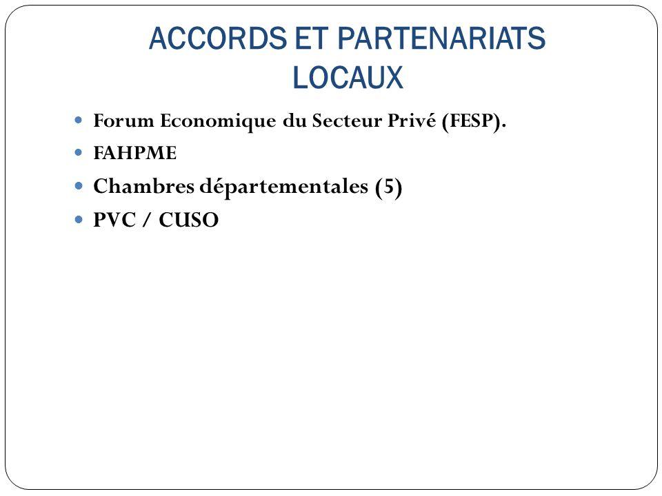 ACCORDS ET PARTENARIATS LOCAUX Forum Economique du Secteur Privé (FESP). FAHPME Chambres départementales (5) PVC / CUSO