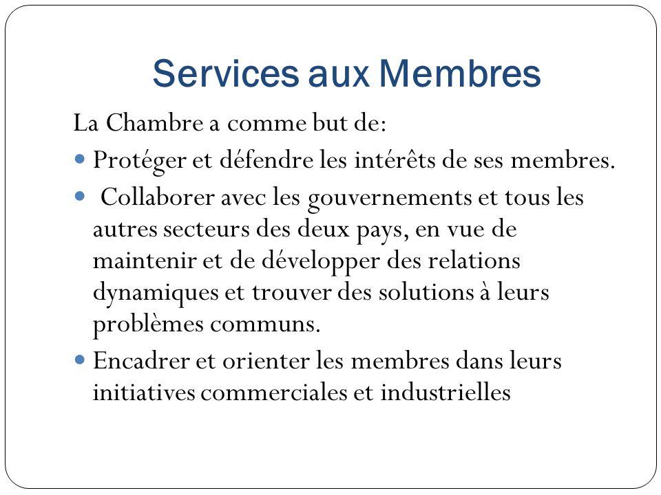 Services aux Membres La Chambre a comme but de: Protéger et défendre les intérêts de ses membres. Collaborer avec les gouvernements et tous les autres
