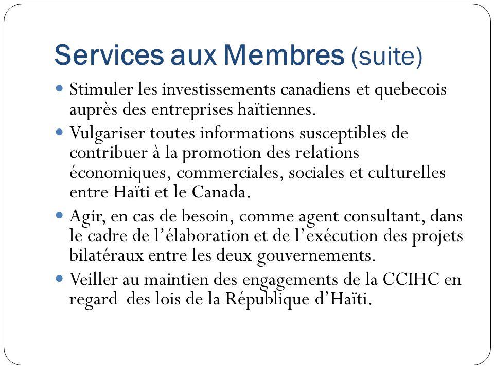 Services aux Membres (suite) Stimuler les investissements canadiens et quebecois auprès des entreprises haïtiennes. Vulgariser toutes informations sus