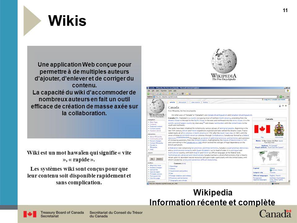 11 Wikis Wiki est un mot hawaïen qui signifie « vite », « rapide ». Les systèmes wiki sont conçus pour que leur contenu soit disponible rapidement et