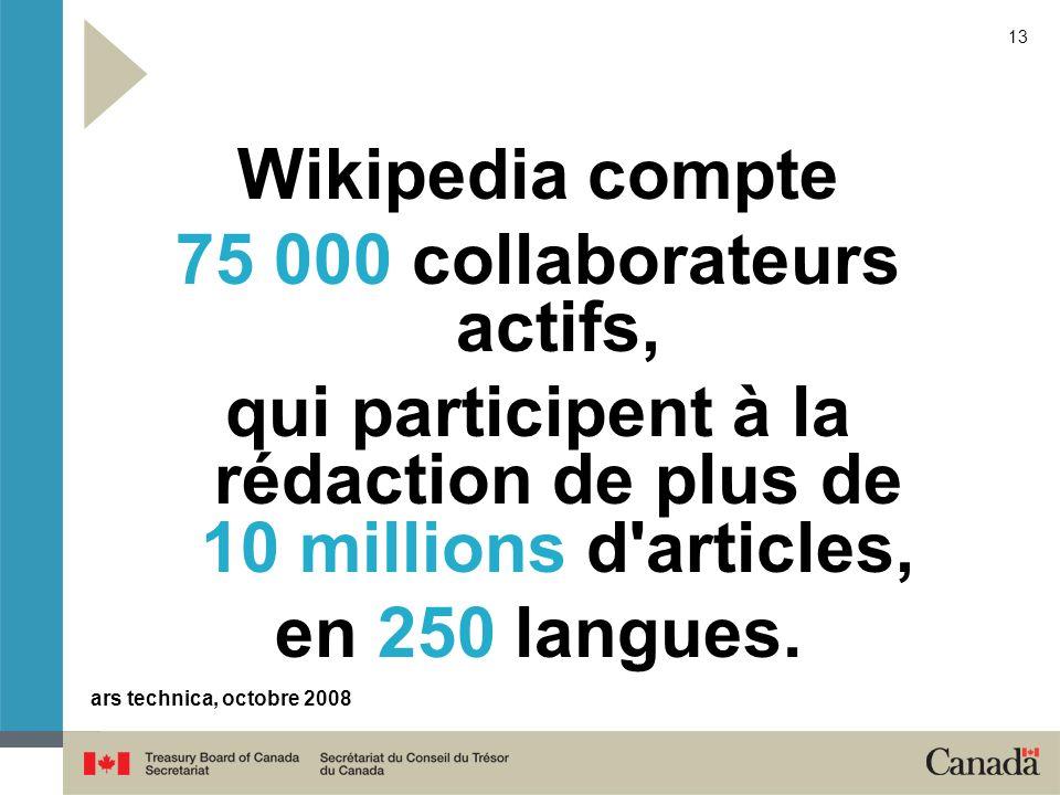 13 Wikipedia compte 75 000 collaborateurs actifs, qui participent à la rédaction de plus de 10 millions d'articles, en 250 langues. ars technica, octo