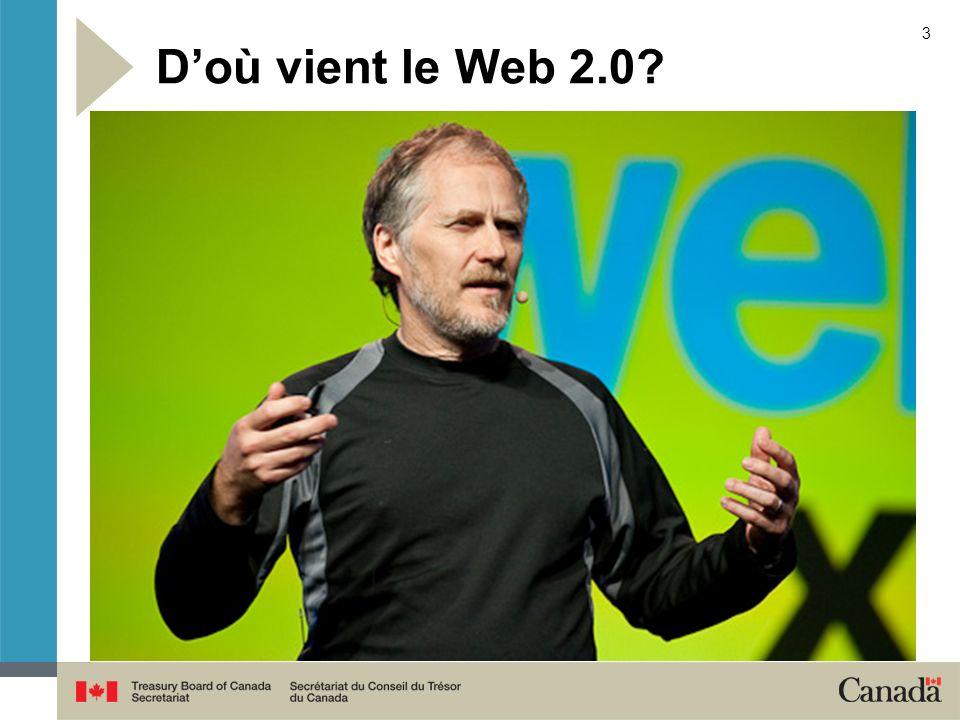 4 Web 2.0 fait évoluer Internet d un environnement de publication à un environnement de participation Les outils de collaboration Web2.0 sutilisent facilement et rapidement avec une formation minimale en infrastructure ou en technologie.